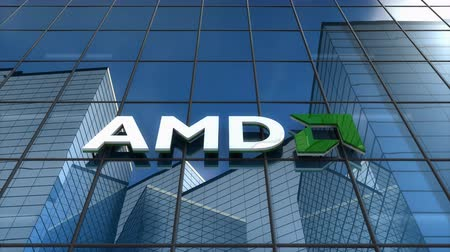Editorial use only, 3D animation, AMD logo on glass building.