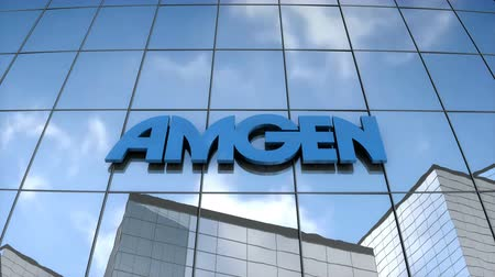 Editorial use only, 3D animation, AMGEN logo on glass building.