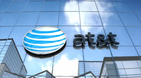 Editorial use only, 3D animation, AT&T logo on glass building.