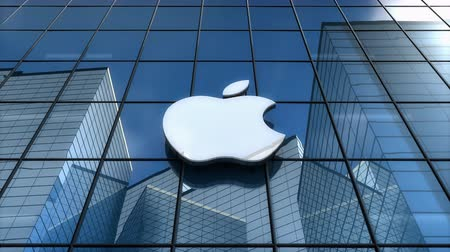 Editorial use only, 3D animation, Apple Inc. logo on glass building. Stok Video