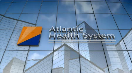 September 2017, Editorial use only, 3D animation, Atlantic Health System logo on glass building. Stok Video