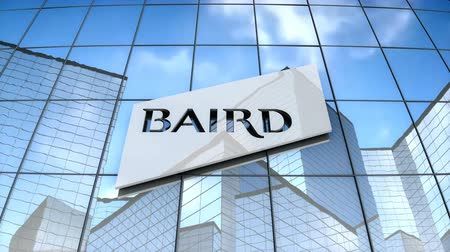 September 2017, Editorial use only, 3D animation, Robert W. Baird & Co. Incorporated logo on glass building.