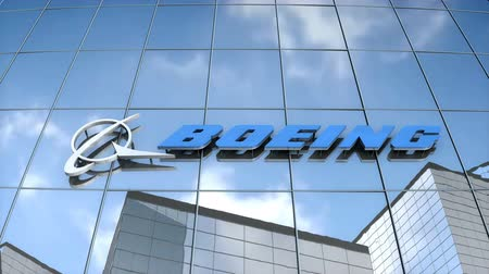 Editorial use only, 3D animation, Boeing logo on glass building. Stok Video
