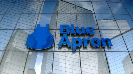 August 2017, Editorial use only, Blue Apron logo on glass building. Stock Footage