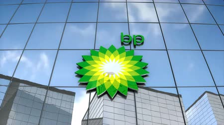 Editorial use only, 3D animation, BP logo on glass building. Stok Video