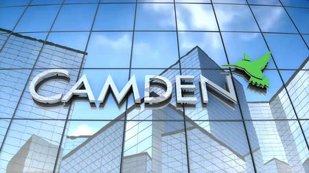 September 2017, Editorial use only, 3D animation, Camden Property Trust logo on glass building. Stok Video