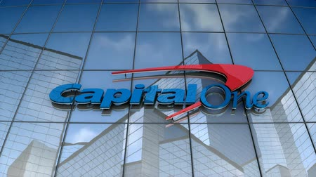 August 2017, Editorial use only, 3D animation, Capital One Fiancial Corporation logo on glass building. Стоковые видеозаписи