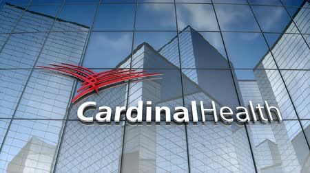 August 2017, Editorial use only, 3D animation, Cardinal Health logo on glass building. Стоковые видеозаписи