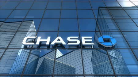 Editorial use only, 3D animation, Chase bank logo on glass building. Stok Video