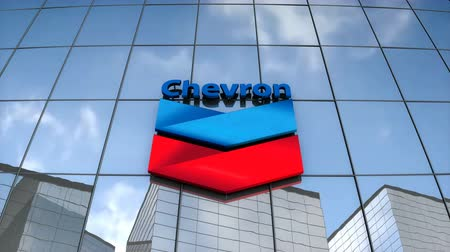 Editorial use only, 3D animation, Chevron logo on glass building. Stok Video
