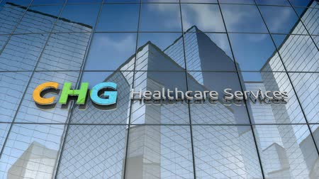 September 2017, Editorial use only, 3D animation, CHG Healthcare Services logo on glass building. Стоковые видеозаписи