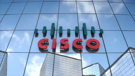 Editorial use only, 3D animation, Cisco logo on glass building. Vídeos