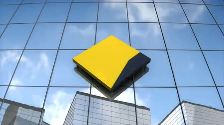 společenství : Editorial use only, 3D animation, CommonWealth Bank logo on glass building.