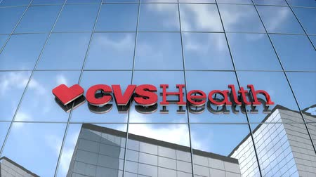 Editorial use only, 3D animation, CVSHealth logo on glass building. Vídeos