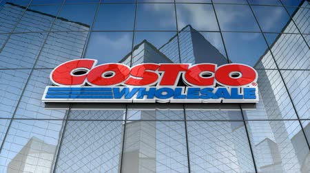 maliyet : September 2017, Editorial use only, 3D animation, Costco logo on glass building.