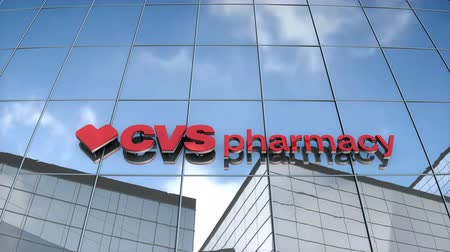 Editorial use only, 3D animation, CSVpharmacy logo on glass building.