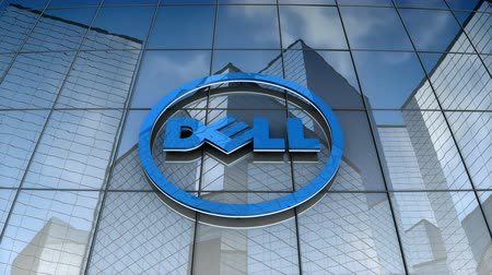 September 2017, Editorial use only, 3D animation, Dell logo on glass building.