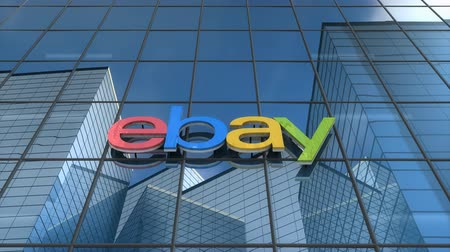 ebay : Editorial use only, 3D animation, Ebay logo on glass building. Stock Footage