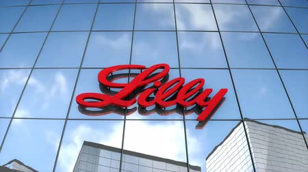 Editorial use only, 3D animation, Eli Lilly & Co logo on glass building. Vídeos