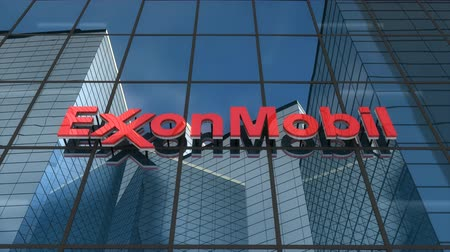 Editorial use only, 3D animation, ExxonMobil logo on glass building.