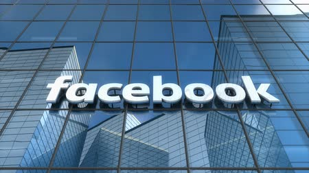 Editorial use only, 3D animation, Facebook logo on glass building.