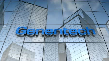 September 2017, Editorial use only, 3D animation, Genentech Inc. logo on glass building.