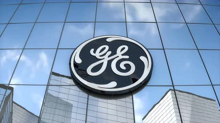 Editorial use only, 3D animation, General Electric logo on glass building. Stok Video