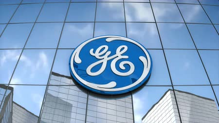 Editorial use only, 3D animation, General Electric logo on glass building. Stock Footage