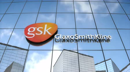 Editorial use only, 3D animation, GlaxoSmithKlein logo on glass building.