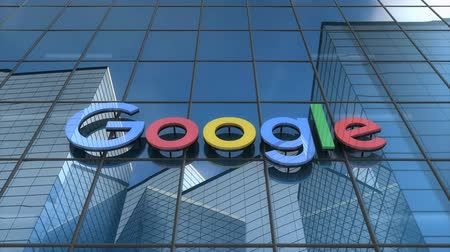 Editorial use only, 3D animation, Google logo on glass building.