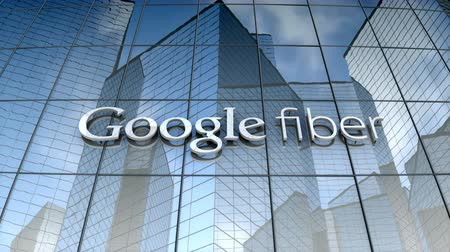 July 2017, Editorial use only, Google Fiber logo on glass building.