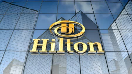 hilton : August 2017, Editorial use only, 3D animation, Hilton logo on glass building.