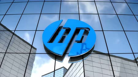 July 2017, Editorial use only, 3D animation, HP logo on glass building. Stock Footage