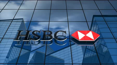 Editorial use only, 3D animation, HSBC Bank logo on glass building.