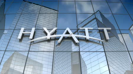 September 2017, Editorial use only, 3D animation, Hyatt Hotels corporation logo on glass building. Stok Video
