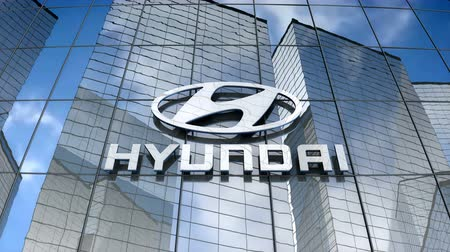 July 2017, Editorial use only, Hyundai Motor logo on glass building. Stok Video