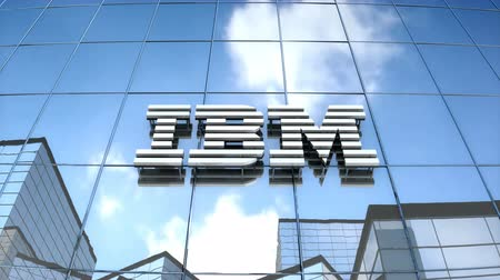 Editorial use only, 3D animation, IBM logo on glass building.