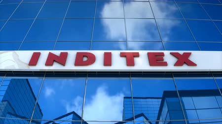 Editorial use only, 3D animation, INDITEX logo on glass building.
