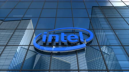 Editorial use only, 3D animation, Intel logo on glass building.
