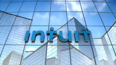 September 2017, Editorial use only, 3D animation, Intuit Inc. logo on glass building. Vídeos