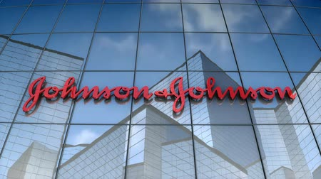 August 2017, Editorial use only, 3D animation, Johnson & Johnson logo on glass building. Vídeos