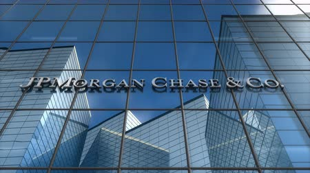honit : Editorial use only, 3D animation, JPMorgan logo on glass building. Dostupné videozáznamy