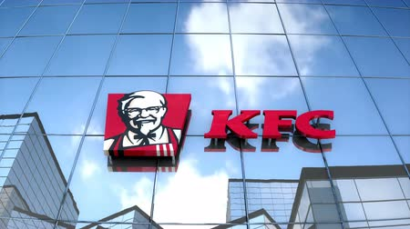Editorial use only, 3D animation, KFC logo on glass building.