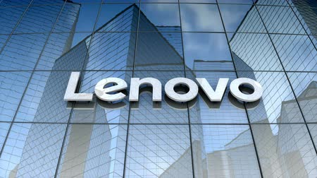 August 2017, Editorial use only, Lenovo logo on glass building.
