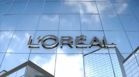 Editorial use only, 3D animation, Loreal logo on glass building.
