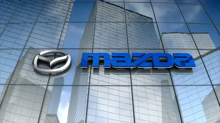 August 2017, Editorial use only, Mazda Motor corp. logo on glass building. Stok Video