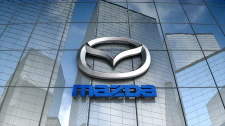 August 2017, Editorial use only, Mazda Motor corp. logo on glass building. Stock Footage