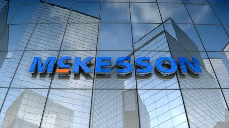 September 2017, Editorial use only, 3D animation, McKesson corporation logo on glass building. Стоковые видеозаписи