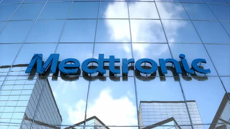 Editorial use only, 3D animation, Medtronic logo on glass building.