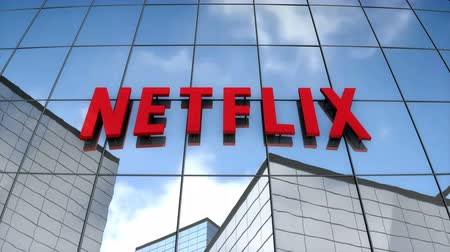 July 2017, Editorial use only, 3D animation, Netflix logo on glass building. Стоковые видеозаписи